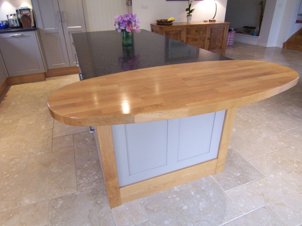 Kitchen island with timber and painted combination