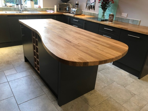 Kitchen island with timber top