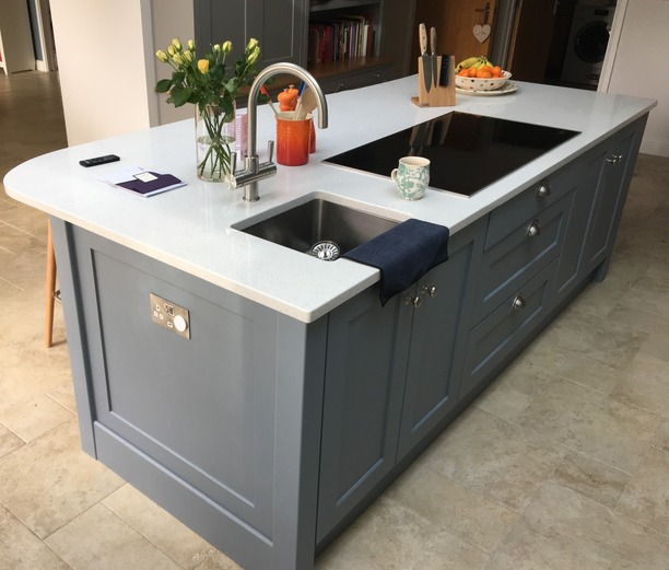 Shaker island with sink and hob