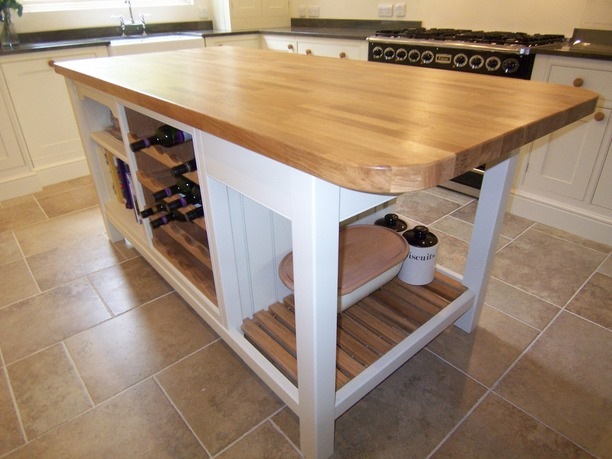 Shaker style island with timber worktop