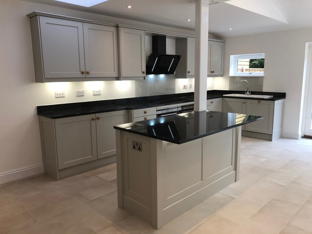 Shaker island in open plan kitchen