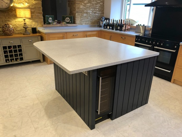 Bespoke island with wine cooler